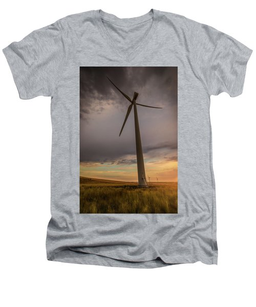 Palouse Windmill At Sunrise Men's V-Neck T-Shirt by Chris McKenna