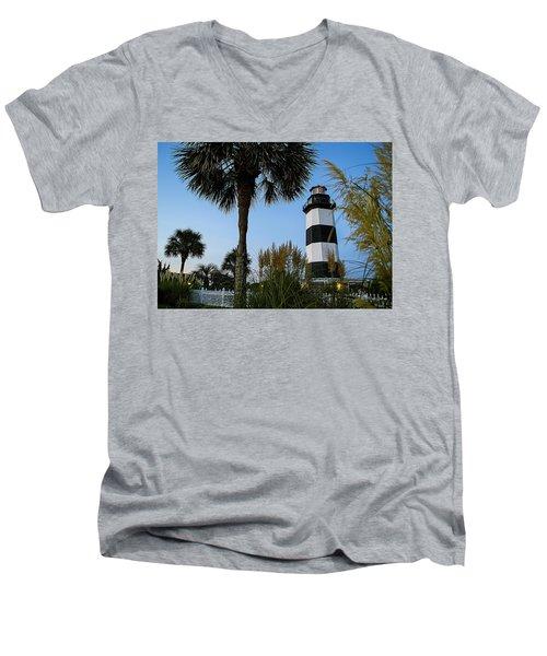 Pampas Grass, Palms And Lighthouse Men's V-Neck T-Shirt