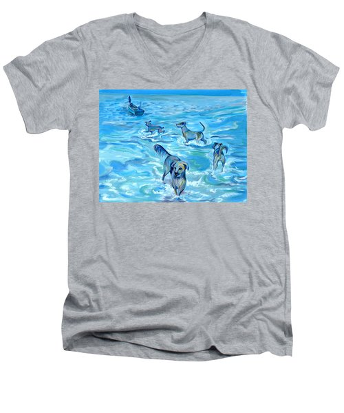Panama. Salted Dogs Men's V-Neck T-Shirt by Anna  Duyunova