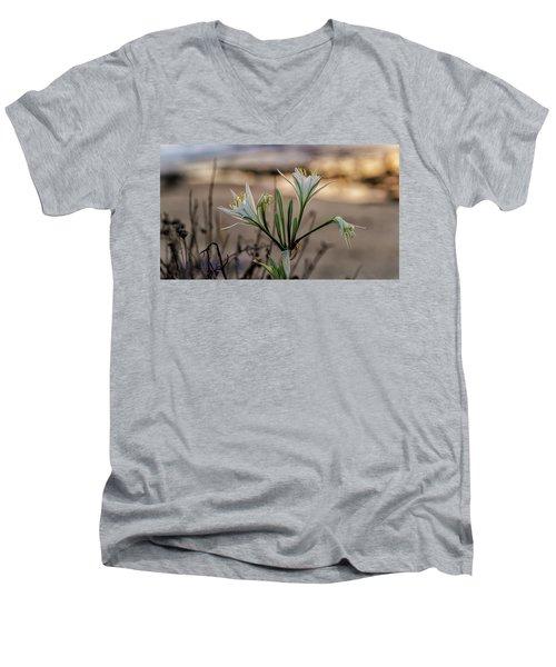 Pancratium Maritimum L. Men's V-Neck T-Shirt by Uri Baruch