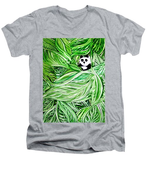 Panda Bear Sitting In Leaves Alcohol Inks Men's V-Neck T-Shirt
