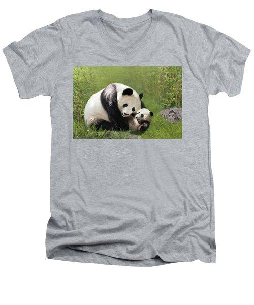 Panda Bears Men's V-Neck T-Shirt