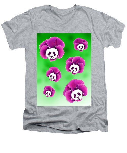 Panda Pansies Men's V-Neck T-Shirt