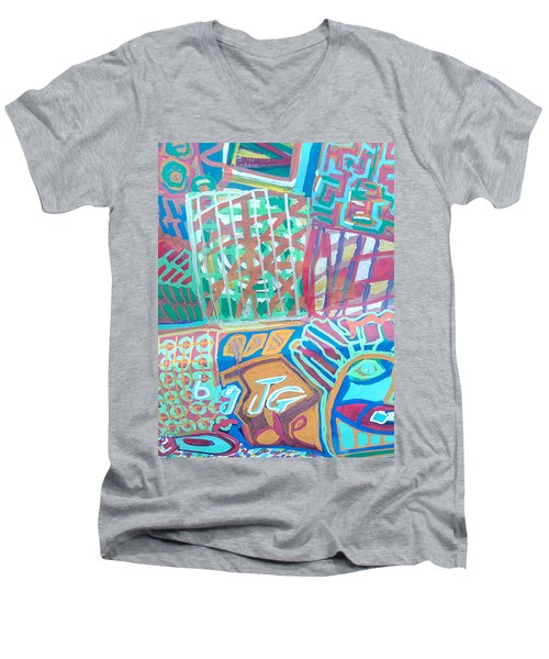 Panel Of Hand Painted Mondeo Men's V-Neck T-Shirt