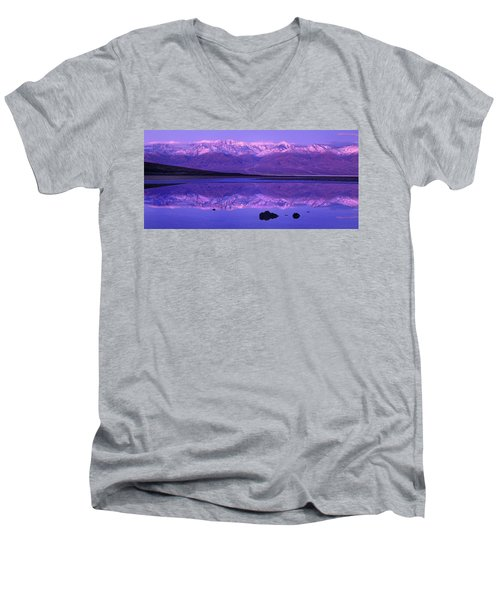 Panorama Badwater And The Panamint Range At Sunrise Death Valley Men's V-Neck T-Shirt