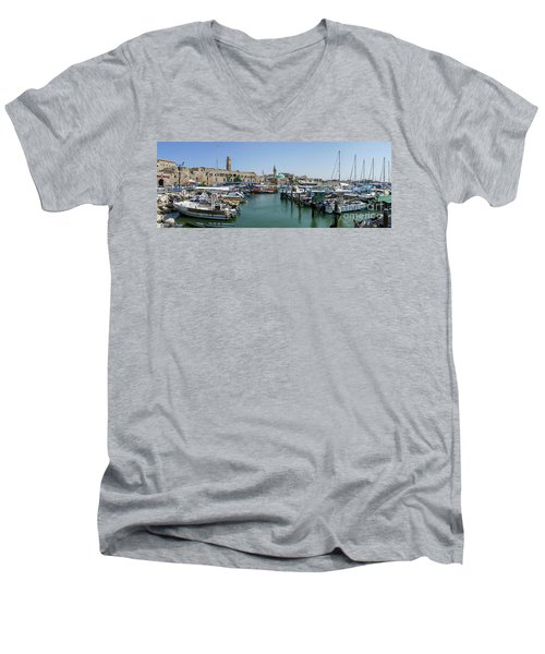 Panorama In Acre Harbor Men's V-Neck T-Shirt by Arik Baltinester