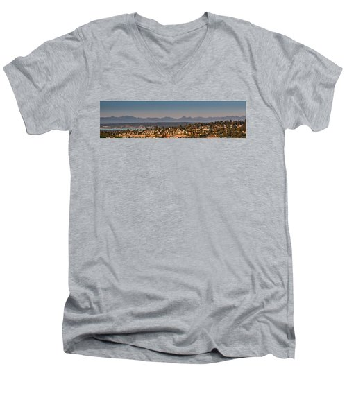 Panorama - Lake Washington - Cascade Mountains Men's V-Neck T-Shirt by E Faithe Lester