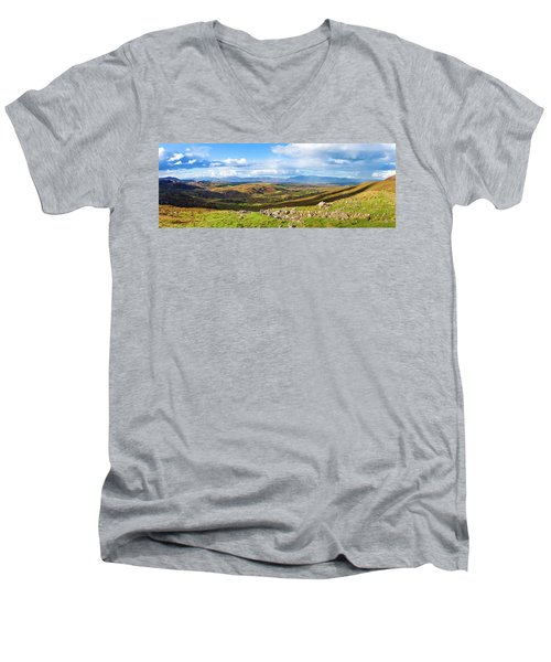 Panorama Of A Colourful Undulating Irish Landscape In Kerry Men's V-Neck T-Shirt by Semmick Photo
