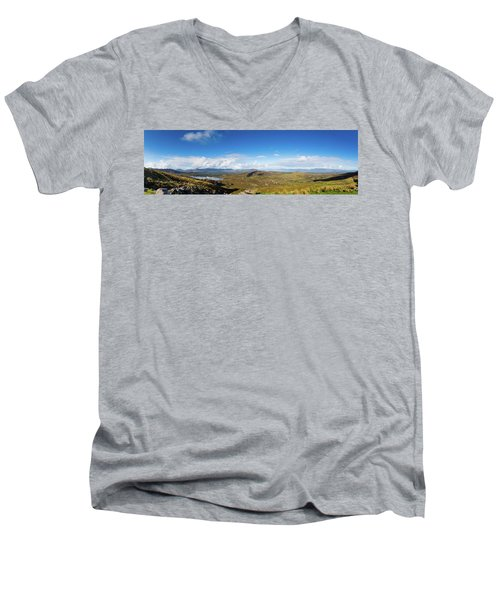 Men's V-Neck T-Shirt featuring the photograph Panorama Of Ballycullane And Lough Acoose In Ireland by Semmick Photo