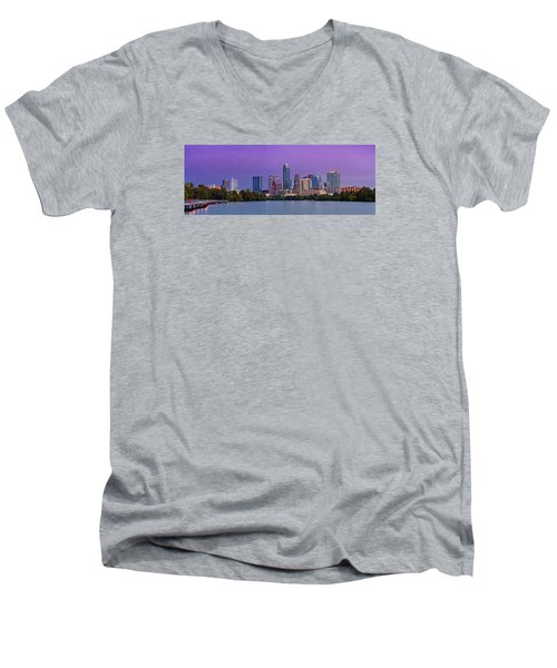 Panorama Of Downtown Austin Skyline From The Lady Bird Lake Boardwalk Trail - Texas Hill Country Men's V-Neck T-Shirt