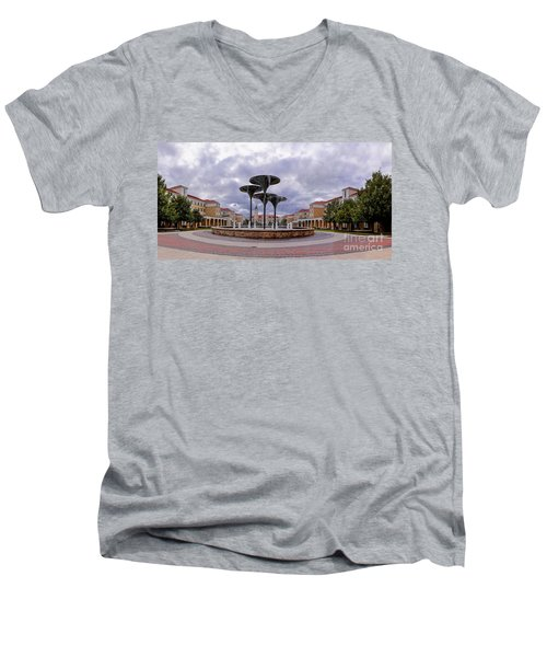 Panorama Of Texas Christian University Campus Commons And Frog Fountain - Fort Worth Texas Men's V-Neck T-Shirt