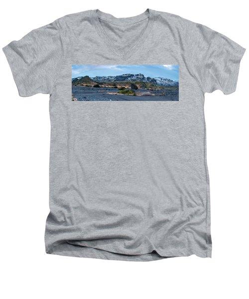 Panorama View Of An Icelandic Mountain Range Men's V-Neck T-Shirt