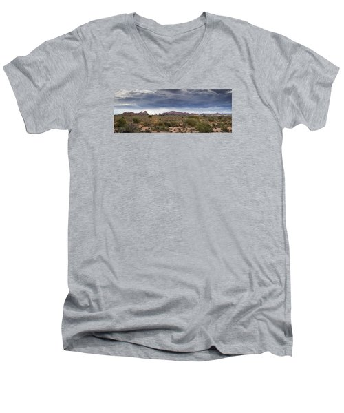 Panoramic View At Arches National Park Men's V-Neck T-Shirt