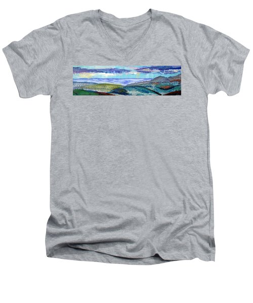 Panoramic View From Exeter Of Devon Hills Men's V-Neck T-Shirt