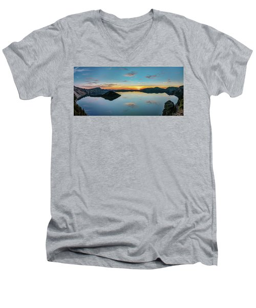 Men's V-Neck T-Shirt featuring the photograph Panoramic View Of Crater Lake by Pierre Leclerc Photography