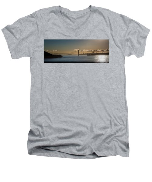 Panoramic View Of Downtown San Francisco Behind The Golden Gate  Men's V-Neck T-Shirt