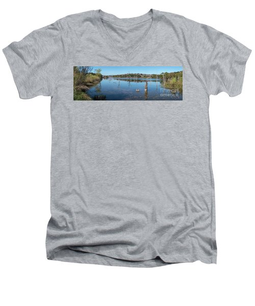 Panoramic View Of Large Lake With Grass On The Shore Men's V-Neck T-Shirt