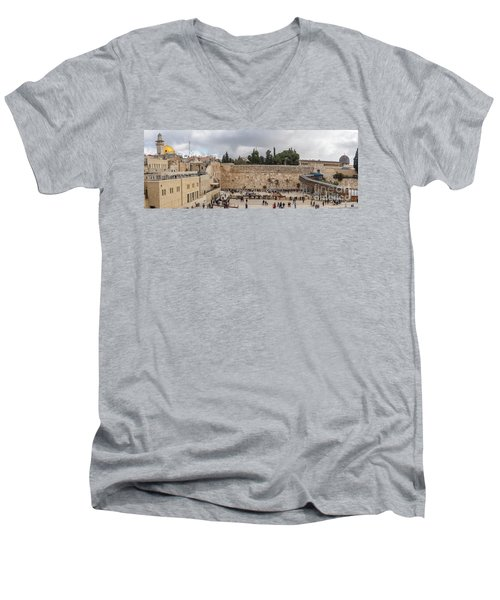 Panoramic View Of The Wailing Wall In The Old City Of Jerusalem Men's V-Neck T-Shirt
