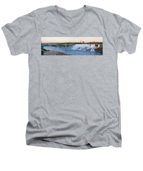 Panoramic Views Of The Peacebridge, Niagara River And American Falls Men's V-Neck T-Shirt