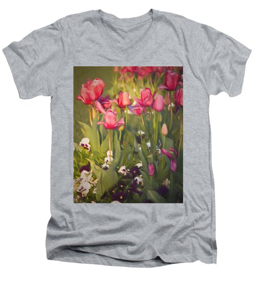 Pansies And Tulips Men's V-Neck T-Shirt