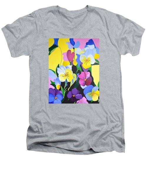 Pansies Men's V-Neck T-Shirt by Donna Blossom