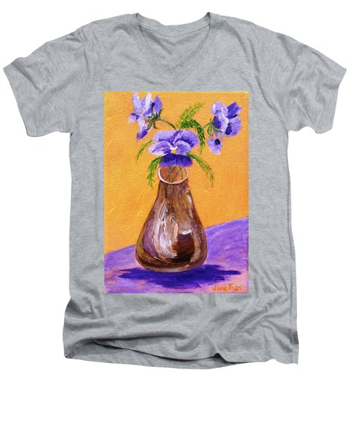 Pansies In Brown Vase Men's V-Neck T-Shirt