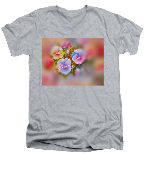 Men's V-Neck T-Shirt featuring the painting Pansies by Patricia Schneider Mitchell