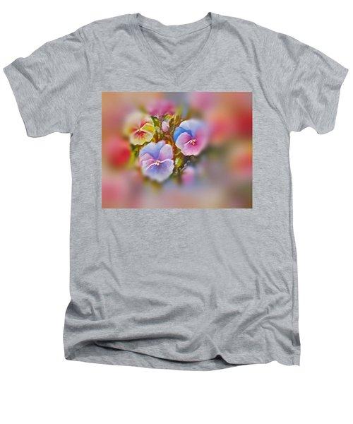 Pansies Men's V-Neck T-Shirt by Patricia Schneider Mitchell