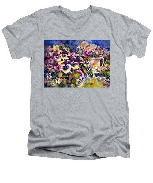 Pansy Garden Men's V-Neck T-Shirt