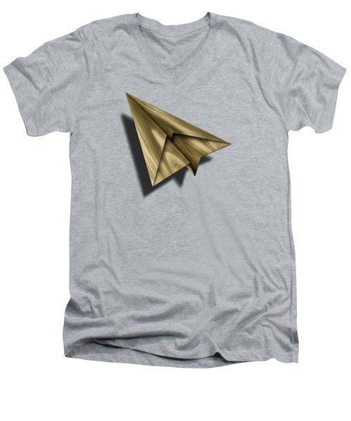 Paper Airplanes Of Wood 18 Men's V-Neck T-Shirt by YoPedro