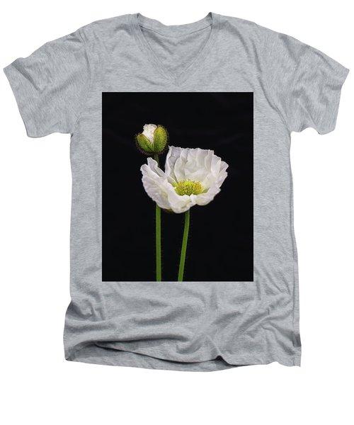 Paper White Poppy Men's V-Neck T-Shirt