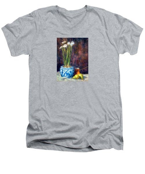 Paper Whites And Pears Men's V-Neck T-Shirt