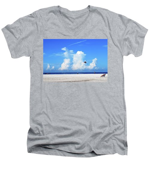 Men's V-Neck T-Shirt featuring the photograph Para Sailing On Siesta Key by Gary Wonning