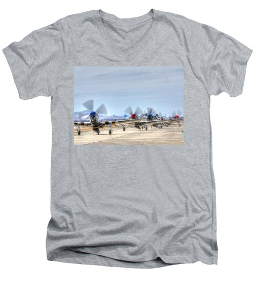 Parade Of Mustangs Men's V-Neck T-Shirt
