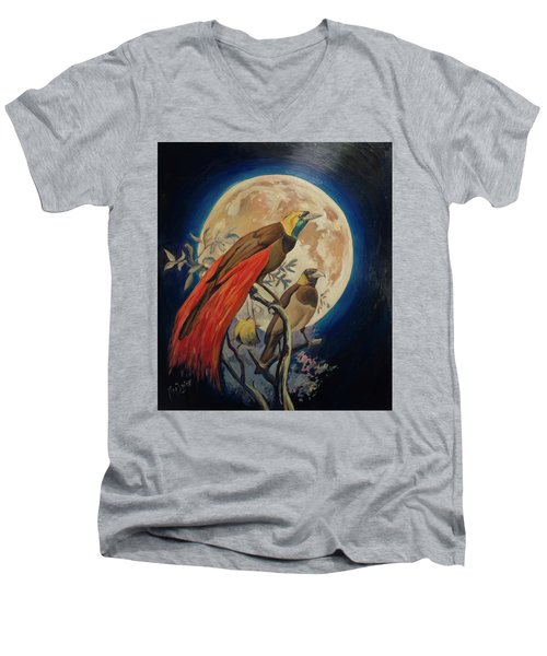 Paradise Birds Men's V-Neck T-Shirt by Nop Briex