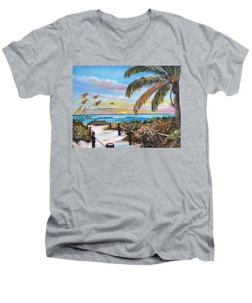 Paradise Men's V-Neck T-Shirt by Lloyd Dobson