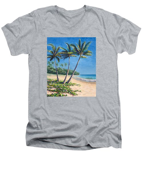 Men's V-Neck T-Shirt featuring the painting Tropical Paradise Landscape - Hawaii Beach And Palms Painting by Karen Whitworth