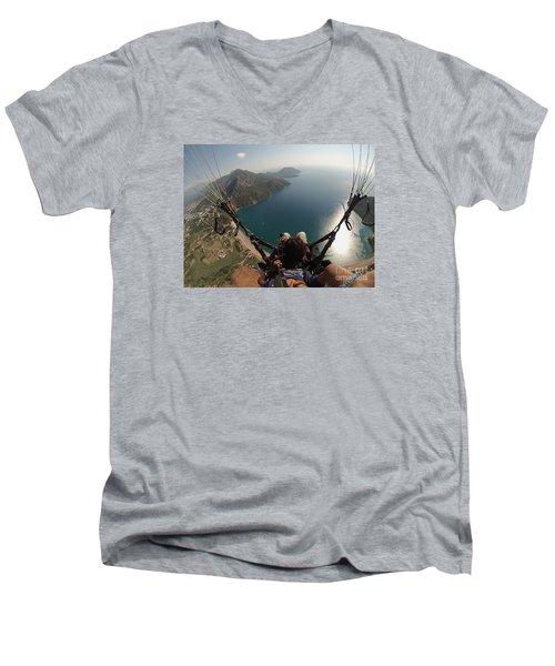 Paragliding Fly Above Laguna Seascape Men's V-Neck T-Shirt