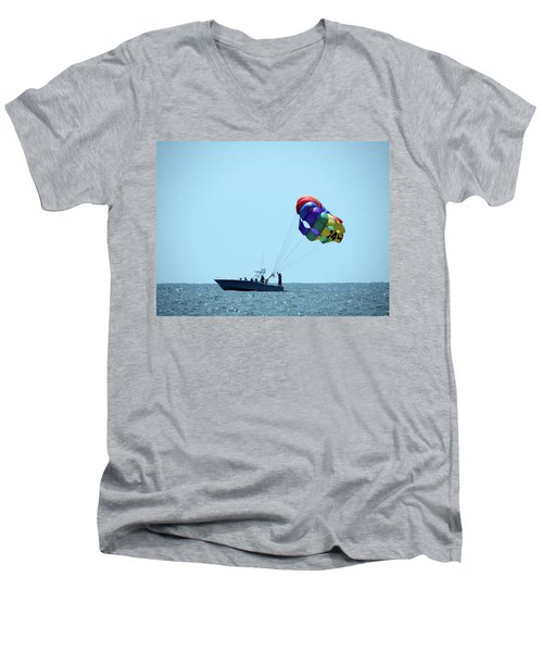 Parasail Men's V-Neck T-Shirt by Cathy Harper