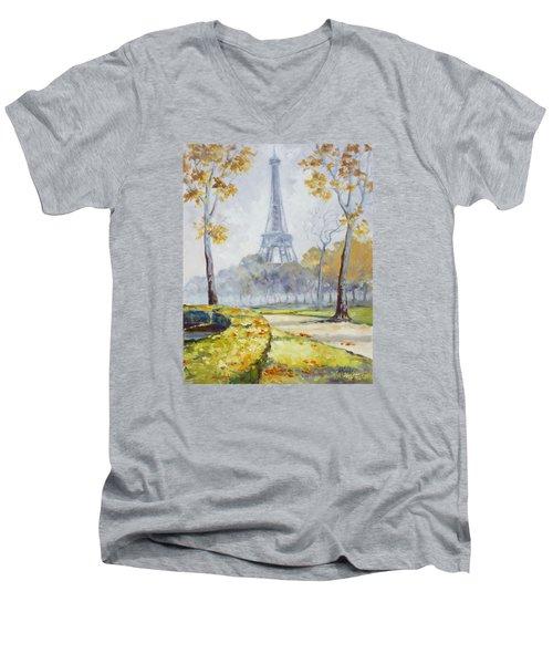 Paris Eiffel Tower From Trocadero Park Men's V-Neck T-Shirt by Irek Szelag
