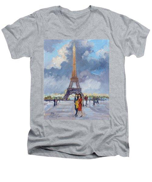 Paris Eiffel Tower Men's V-Neck T-Shirt by Irek Szelag