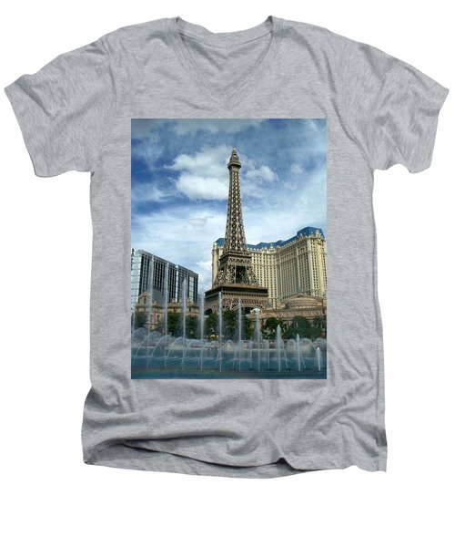 Paris Hotel And Bellagio Fountains Men's V-Neck T-Shirt