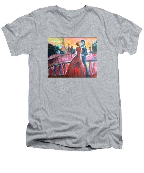 Paris Lovers Men's V-Neck T-Shirt by Roxy Rich