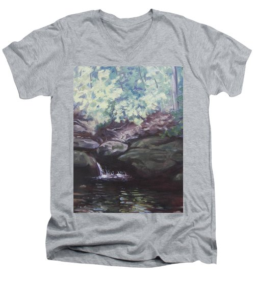Men's V-Neck T-Shirt featuring the painting Paris Mountain Waterfall by Robert Decker
