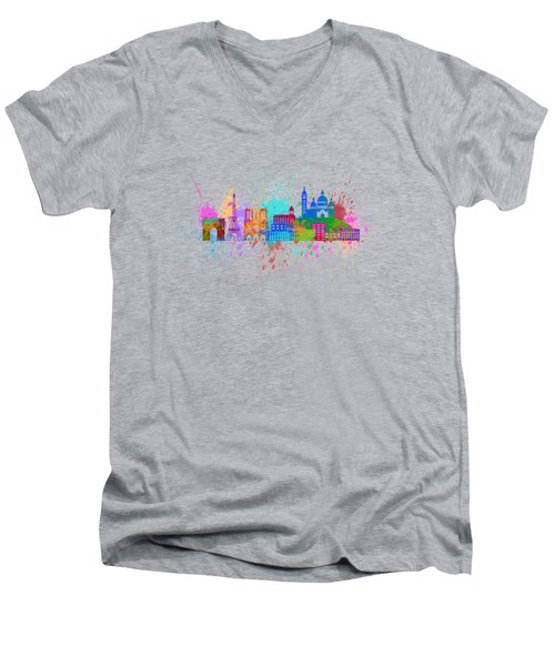 Paris Skyline Paint Splatter Color Illustration Men's V-Neck T-Shirt