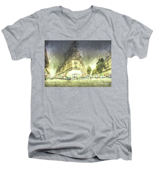 Men's V-Neck T-Shirt featuring the mixed media Paris Streets by Jim  Hatch