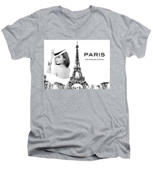 Paris The Fashion Capital Men's V-Neck T-Shirt