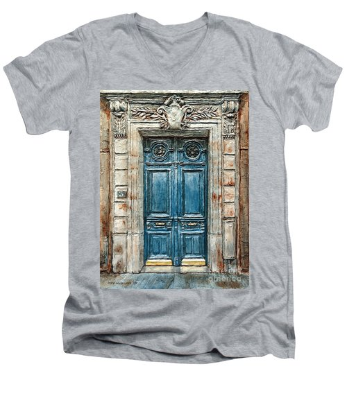 Parisian Door No. 3 Men's V-Neck T-Shirt by Joey Agbayani