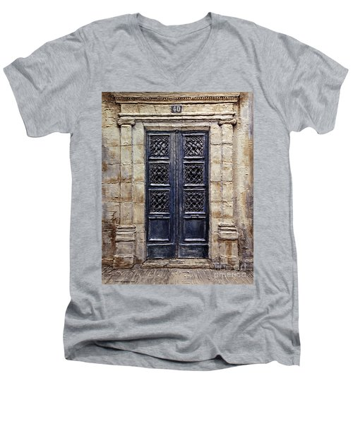 Men's V-Neck T-Shirt featuring the painting Parisian Door No.40 by Joey Agbayani