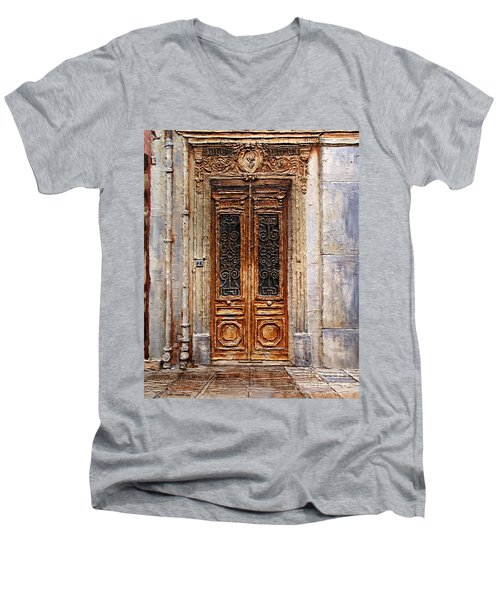 Men's V-Neck T-Shirt featuring the painting Parisian Door No.7 by Joey Agbayani